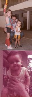 Na foto de cima, meu irmão, Daniel, com pose e uniforme de He-man, aos 6 anos e eu aos 2, entre nós, nosso pai, Manuel. Na foto de baixo, quando eu tinha 6 meses, as mãos de meu pai me levantam no ar.