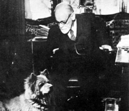 Freud e seu Lün, um chow-chow presenteado por Helene Deutsch.